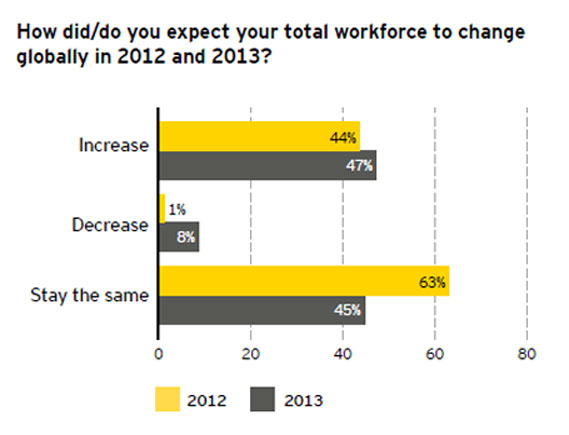 Graph: Global job survey June 2013