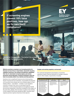 EY – If screening engines present 99% false positives, how can we fix sanctions compliance?