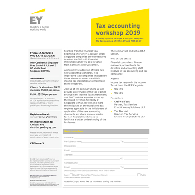 Tax accounting workshop 2019: Keeping up with changes – are